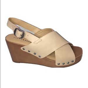 Lucky Brand Zelka wedge platform sandals 8-1/2M
